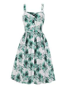 Vestido de verano vintage Botones de impresión tropical Vestido largo sin mangas de las mujeres