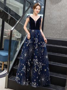 Vestido de baile 2020 Constellation Dress A Line V Neck mangas até o chão Velour Lace Formal Dinner Party Dress Wedding Guest Dresses