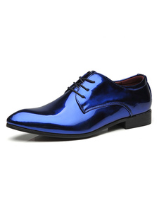 أحذية اللباس الأزرق الرجال أشار تو فو الجلود الدانتيل يصل أحذية حزب