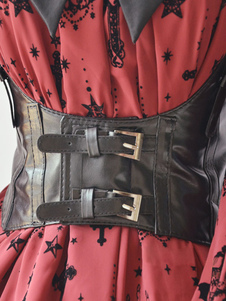 Cintura Steampunk Lolita Corset Belt Black Buckle PU Leather Wide Belt