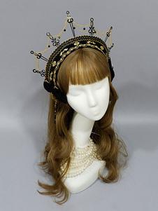 القوطية لوليتا غطاء الرأس ولي العهد الأسود سلاسل معدنية لوليتا اكسسوارات للشعر