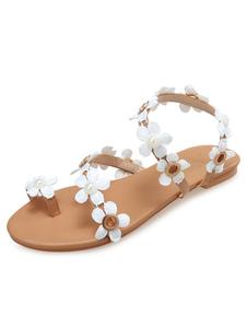 Sandalias Plataforma Planas De Las Mujeres Toe Loop Flores Detalle Sandalias Plataforma De Playa Sandalias Plataforma Zapatos