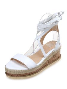 As mulheres brancas das sandálias da cunha abrem o dedo do pé ata acima Snadla Tênis