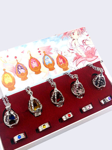 Carnaval Puella Magi Madoka Magica Anime Collar Metal Crystal Pedant Necklace and Ring