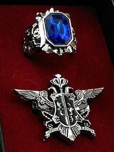 Carnaval Insignia y anillo de metal azul de anime Merchandise de Black Butler
