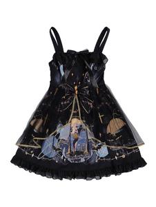 Готическая Лолита JSK Платье Полярная Ночь Шант Шифон с Печатным Бантом Лолита Джемпер Юбки