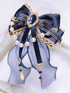 Copricapo Lolita classico con fiocco blu