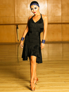 فساتين الرقص اللاتينية النساء السود هامش ملابس الرقص عارية الذراعين