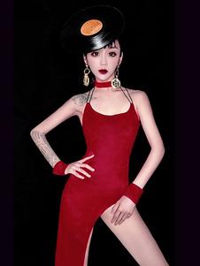 Disfraz Carnaval Traje de baile de jazz para mujer Vestido de tirantes sin espalda de poliéster sin tirantes 4 piezas de ropa de baile Carnaval