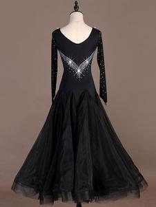 Костюмы для бальных танцев черные женщины полупрозрачное платье из бисера