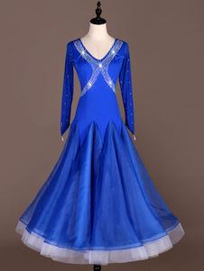 Trajes de dança de salão azul royal mulheres frisado vestido de dança