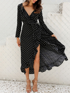 Vestido largo negro  con estampado de lunares con manga larga Vestidos de chifón con abertura con volante fruncido con cuello en V Otoño