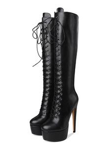 Joelho botas altas mulheres plataforma redonda dedo do pé ata acima botas de salto alto
