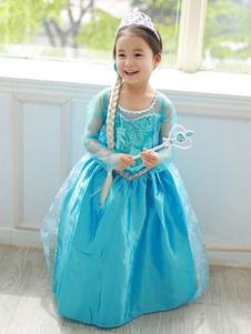 Детское Рождество Косплей Frozen Princess Elsa Dress Хлопок Детское Косплей Костюмы