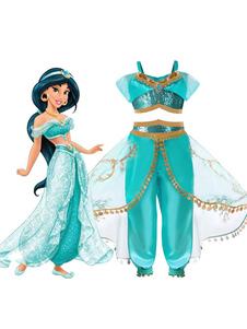 Дети Хэллоуин косплей принцесса аладдина жасмин брюки жилет хлопок дети косплей костюмы