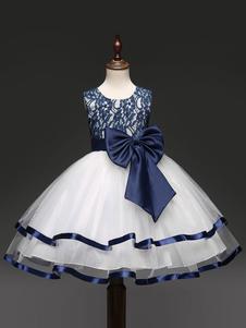 Vestidos de niña de flores Joya azul Cuello sin mangas Arcos Vestidos de fiesta para niños