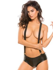Сексуальный единый костюм черный без рукавов из искусственной кожи