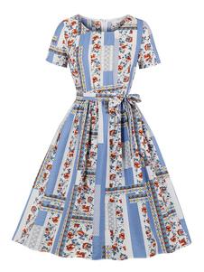 Vestido Retro 1950s Floral Imprimir Jewel Neck Sash Mangas Curtas Mulheres Swing Dress