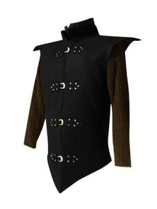 Casaco preto Vintage Idade Média Metal Detalhes Revit Retro Trajes Para Homem