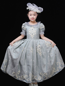 Trajes de Halloween para crianças bordado Ruffle Pewter Princess Kid's Dress