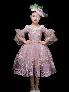 子供のためのハロウィンコスチュームチュール刺繍フリルピンクプリンセス子供ドレス