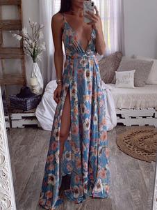 Vestido largo azul  con estampado de flores sin mangas Vestidos de poliéster muy escotado por detrás con flor con cuello en V Verano
