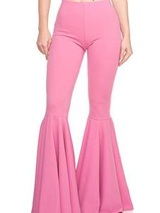 جرس أسفل السراويل الوردي المرأة اندلع بنطلون الساق