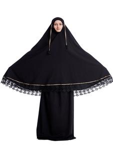 Árabe Vestuário Preto Muçulmano Abaya Vestido Mangas Compridas Lace Hem 2 Peça Outfit