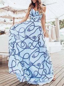 Vestido Maxi Chiffon Impresso Sem Encosto Sem Mangas Long Slip Dress