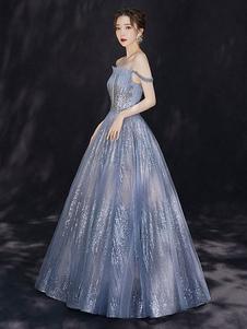 Vestido de noite 2020 constelação vestido de princesa silhueta bateau pescoço até o chão lantejoulas sem mangas formal jantar vestidos de noite