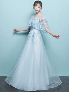 Prom Dress 2020 Una linea gioiello collo senza maniche con borchie in pizzo fiore formale abiti da festa abito da sposa