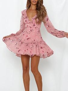 Mini vestidos florais rosa mangas compridas vestido curto chiffon