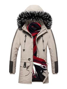 الرجال سترة عارضة معطف مقنعين مع جيوب والفراء لفصل الشتاء
