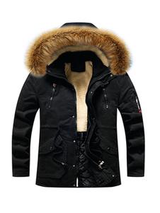 Casaco com capuz exterior Parka masculino com bolsos e peles artificiais para o inverno