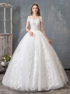فساتين زفاف 2020 ثوب الكرة قبالة الكتف الطابق طول الرباط appliqued فستان الزفاف فساتين المسابقة