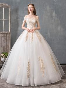 Vestidos de novia Vestido de fiesta 2020 con hombros descubiertos Encaje dorado Aplique hasta el suelo Vestido de novia