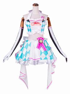 Disfraz Carnaval Hatsune Miku Cosplay versión de motocicleta Plaid Ruffle Cosplay Carnaval