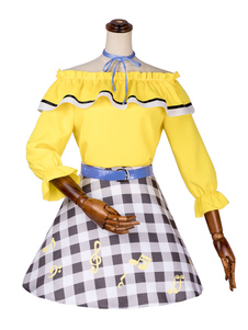 Disfraz Carnaval Vocaloid Cosplay traje amarillo Kagamine Rin Satin Cosplay Set Carnaval