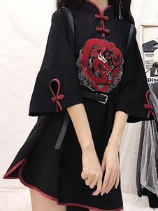 Estilo chino Lolita OP Dress Rose Dragon Botones bordados Patrón negro Medias mangas Lolita Vestidos de una pieza