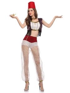 Disfraz Carnaval Disfraces de Halloween Bailarina de mujer Rayas Sombrero Pantalones Algodón Disfraces de Halloween Carnaval