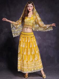 Костюмы для танца живота Желтая женщина Танцовщица живота Вышитое стразами Платье с блестками
