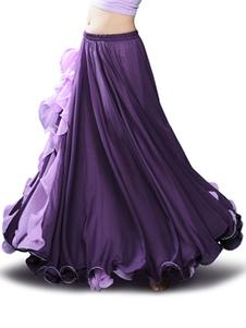 Disfraz Carnaval Falda de danza del vientre Cascada de volantes gasa Ropa de danza del vientre para mujeres Carnaval