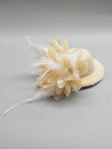 النساء Fascinator قبعة صافي الريش اكسسوارات للشعر خمر