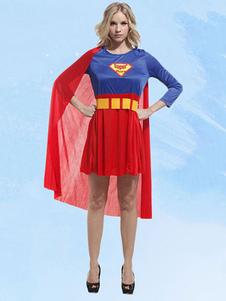 أحمر خارقة ازياء Supergirl اللباس مجموعة للنساء