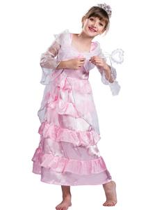 Детские костюмы для Хэллоуина с рюшами и розовым платьем принцессы