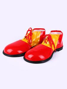 Sapatos de Palhaço vermelho Carnaval Engraçado Traje Dois Tons Fantasia Traje Calçado Strappy Holidays Trajes Halloween