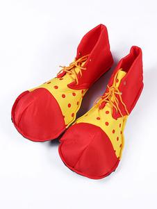 Disfraz Carnaval Zapatos de payaso de carnaval Traje divertido rojo Dos tonos lunares con tiras Disfraces de lujo Carnaval