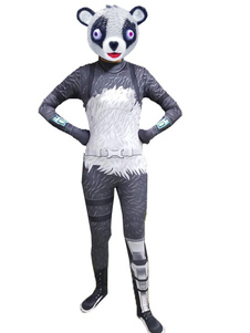 Carnaval Fortnite Disfraces de Cosplay Panda Girl Grey Jumpsuit Halloween Team Leader Game Disfraz de Cosplay sin máscara