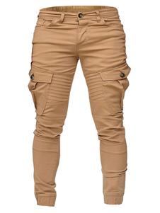 Pantalones de hombre Cintura natural Rectos Negros Pantalones de hombre