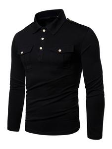 Camisa de polo para hombre Cuello de cobertura negro Manga larga Botones Slim Fit Camiseta casual